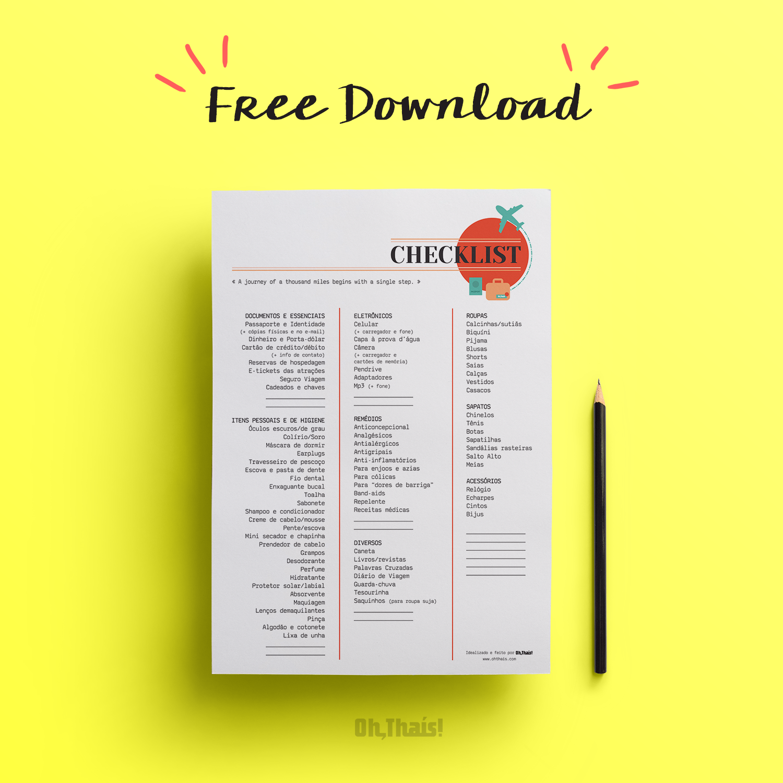 Checklist de Viagem - Oh, Thaís!